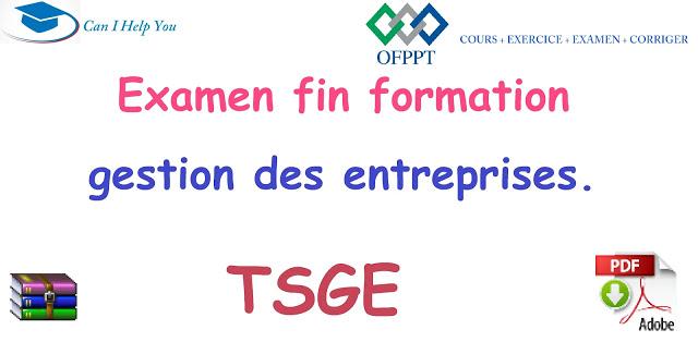 EXAMENS fin formation TSGE (pdf) gestion des entreprises OFPPT pour telecharger