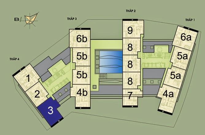 Vị trí căn hộ CH3 - 186m2 trên mặt bằng căn hộ Dolphin Plaza