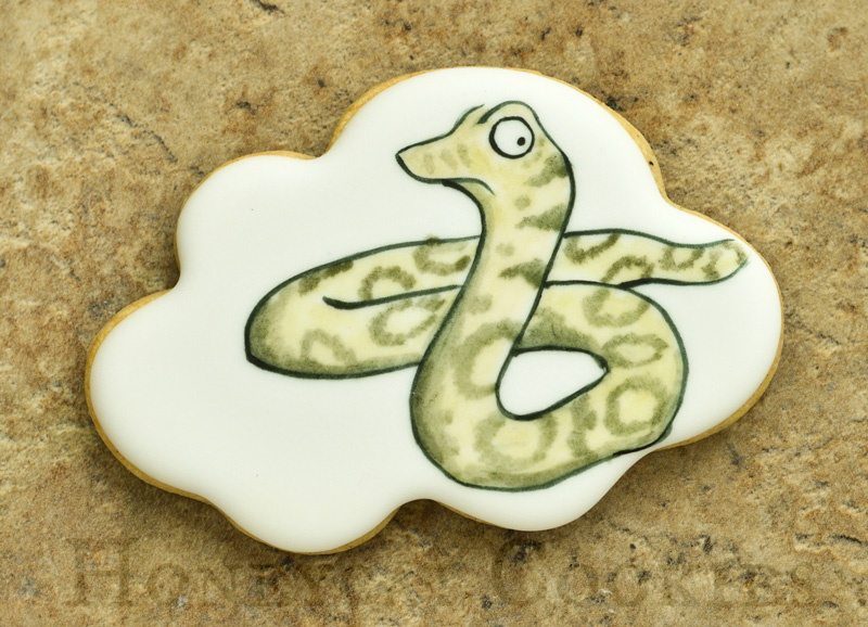 Handpainted Snake from Gruffalo decorated sugar cookie.