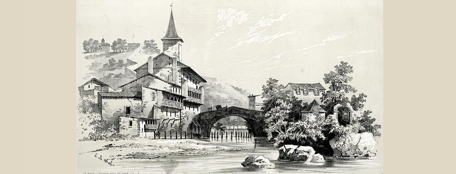 В центре города на реке Нив, 1843 год. Картина Эжена де Мальбоса.
