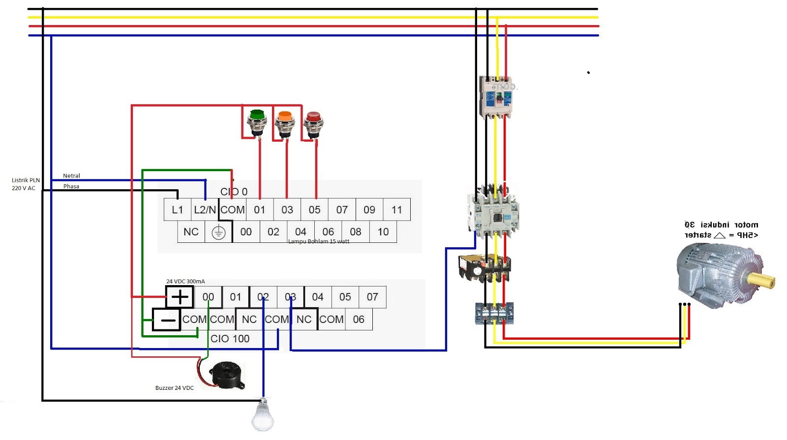 Wiring Diagram Listrik Adalah Wire Center Is 5v 3a Switching Regulator Circuit By Lm257650 Simple Omron Part 3 Cara Memasang Input Output Pada Plc Kendali Motor Rh Stc Sharing Com