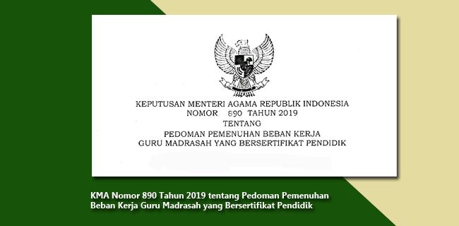 KMA Nomor 890 Tahun 2019 tentang Pedoman Pemenuhan Beban Kerja Guru Madrasah yang Bersertifikat Pendidik