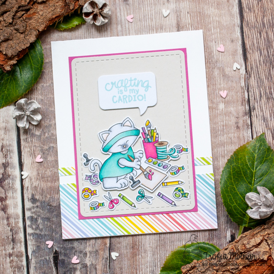 Crafty Cardio Kitty Card by Zsofia Molnar | Newton's Crafty Cardio Stamp Set, Frames & Flags Die Set and Speech Bubbles Die Set by Newton's Nook Designs #newtonsnook #handmade