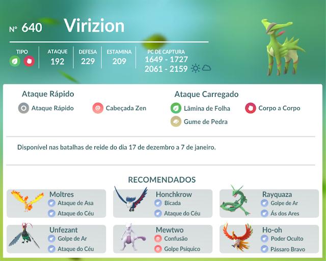 Confira o guia de batalha de reide para enfrentar Virizion em Pokémon GO