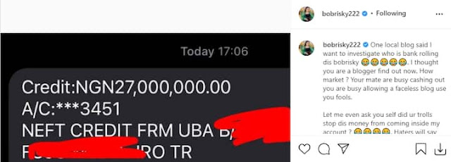 I thought You are a Blogger, Find out now- Bobrisky slams a Blogger who said he is showing Fake alert to his followers