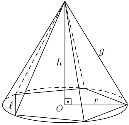 Pirâmide pentagonal inscrita a um cone