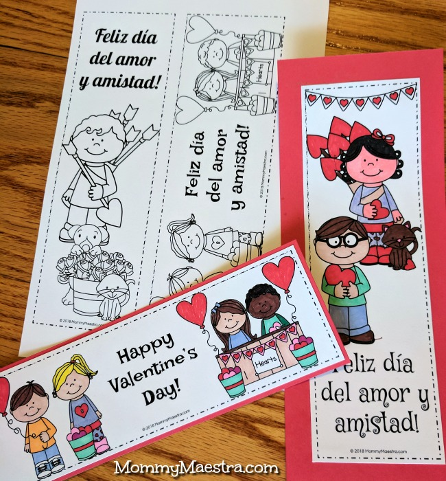 Free Bilingual Valentine's Day Bookmarks