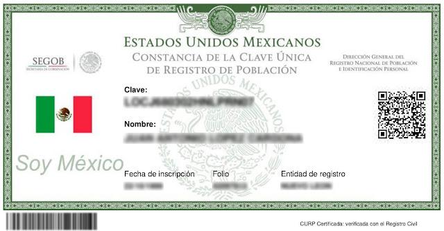 Nuevo Formato de CURP certificada en linea para imprimir