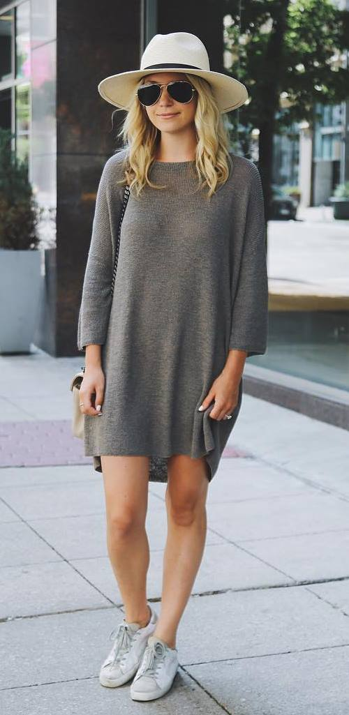 casual style outfit idea: hat + dress + sneakers