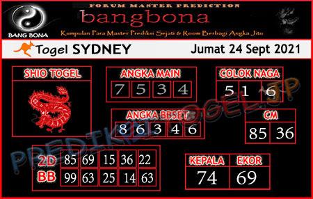 Prediksi Bangbona Sydney Jumat 24 September 2021