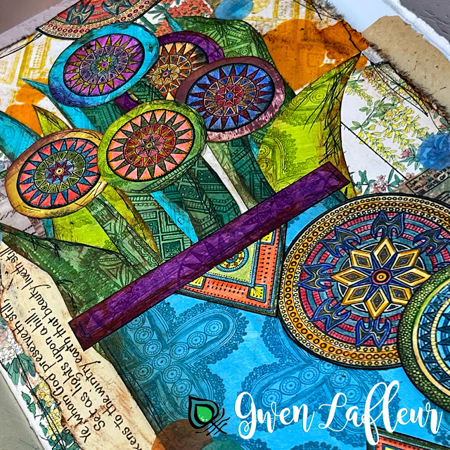 Stamped Floral Collage with Tribal Patches Closeup - Gwen Lafleur