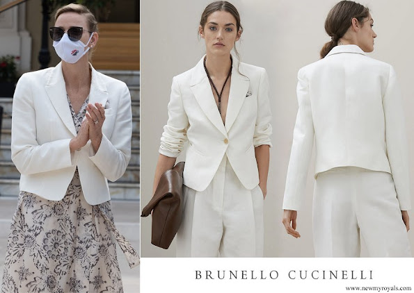 Princess Charlene wore Brunello Cucinelli Linen and cotton Raw chevron blazer