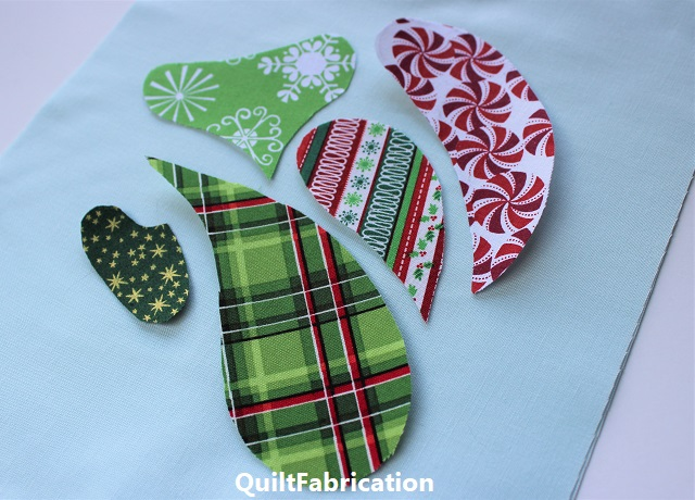 prints used for a Christmas tree block