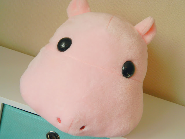 A photo of a giant pink hippopotamus plush from Japan