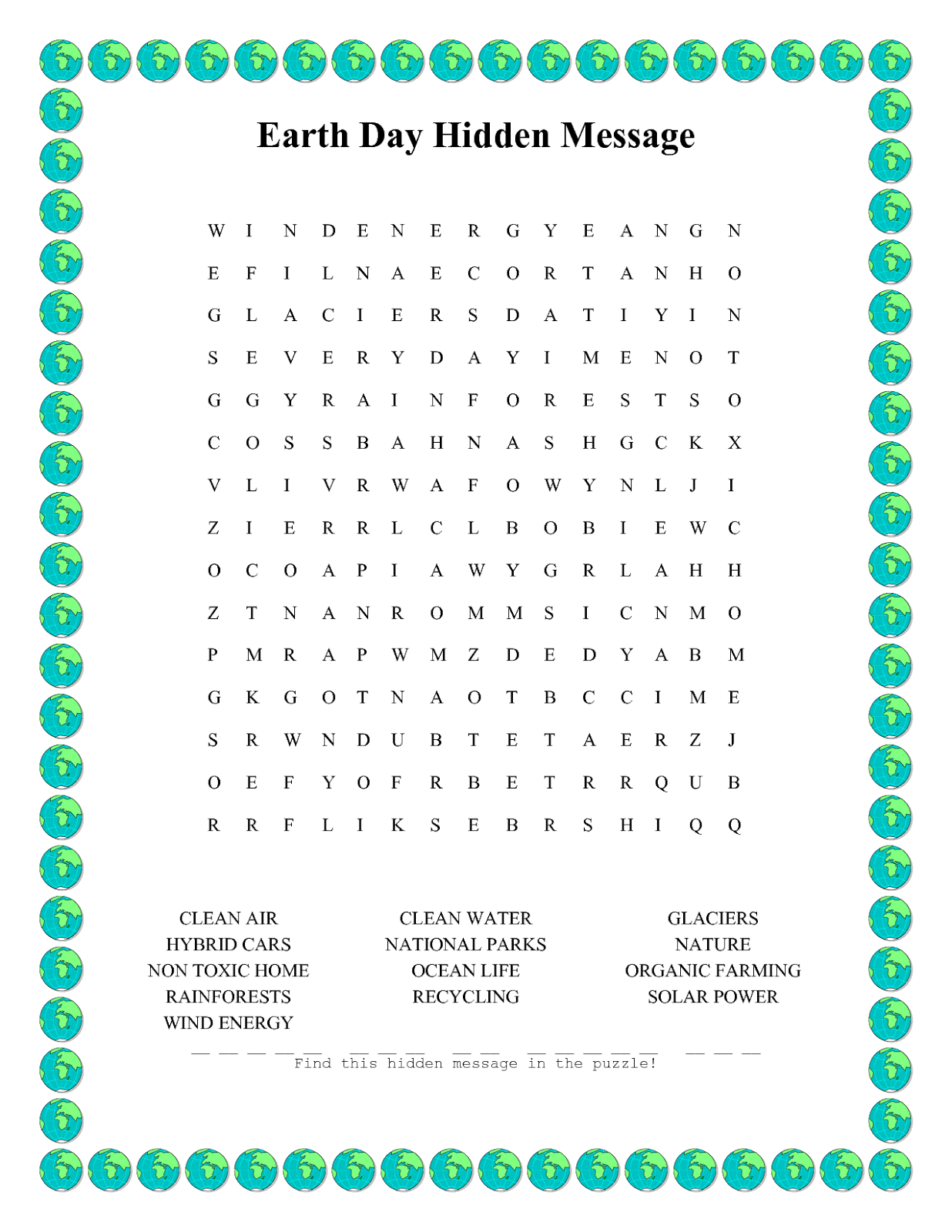 Top 10 Earth Day Word Search Printable For Kids