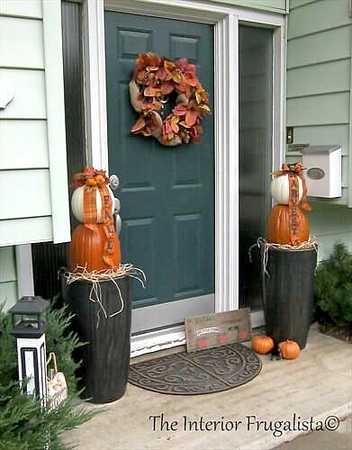 Traditional Fall Pumpkin Topiaries