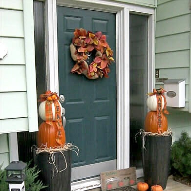 Traditional Fall Stacked Pumpkin Topiaries