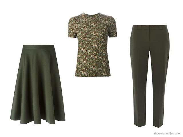 three green garments: P.A.R.O.S.H. skirt, Sonia Rykiel tee and Dorothy Perkins pants