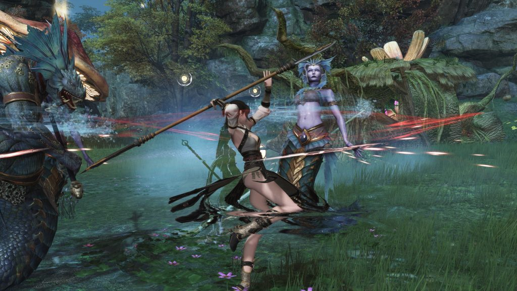 The spear master can stab with his weapon in a targeted manner, but also hit enemies in the AoE.