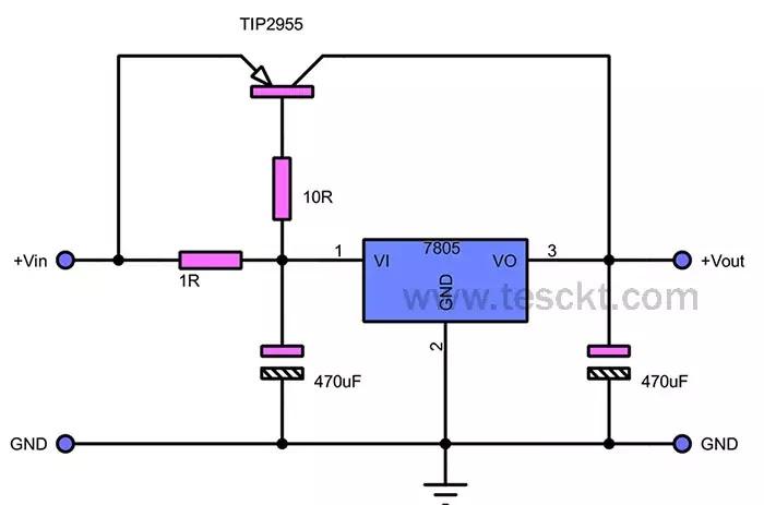 7805 voltage regulator in parallel using transistor