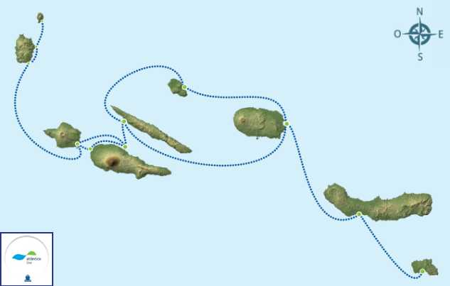 rutas de ferry entre las islas Azores Portugal