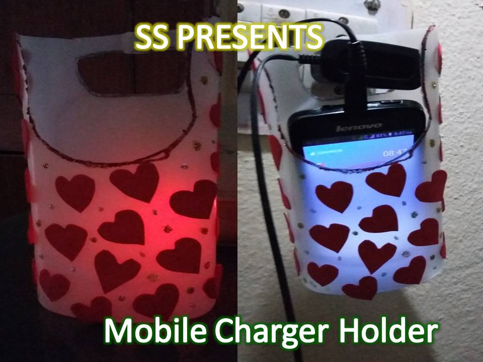 Ssartscrafts best out of the waste cell phone charging holder for Craftwork from waste