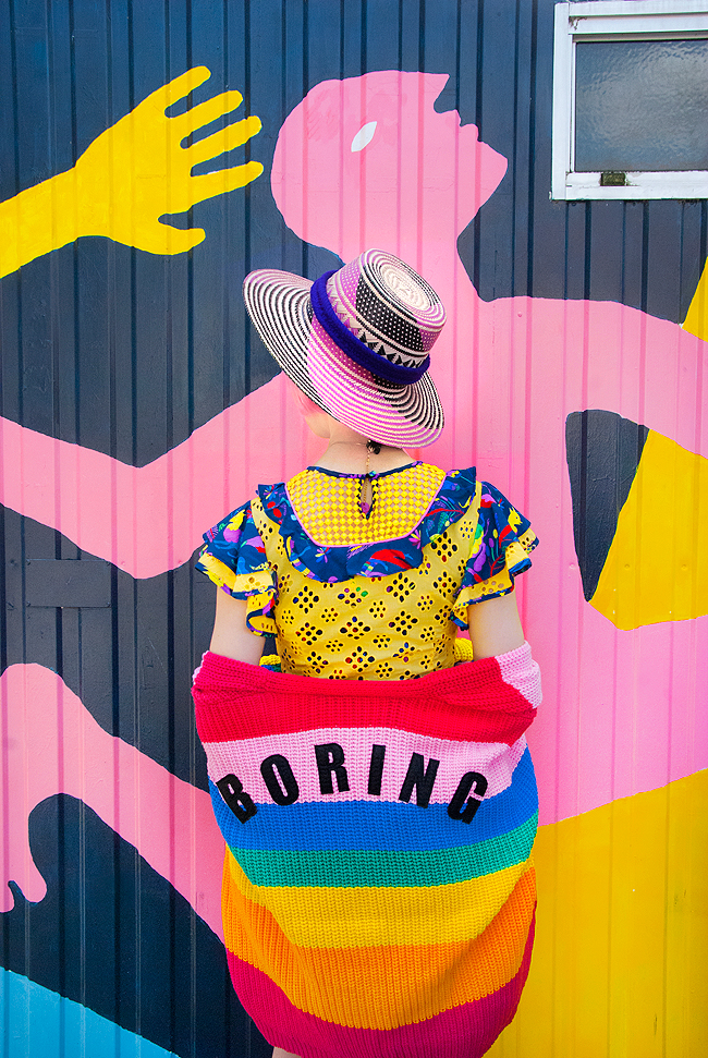 Wayuu hat, CeliaB dress, colourful look