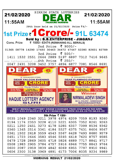 Lottery Sambad 21.02.2020 Sikkim Lottery Result 11.55 AM