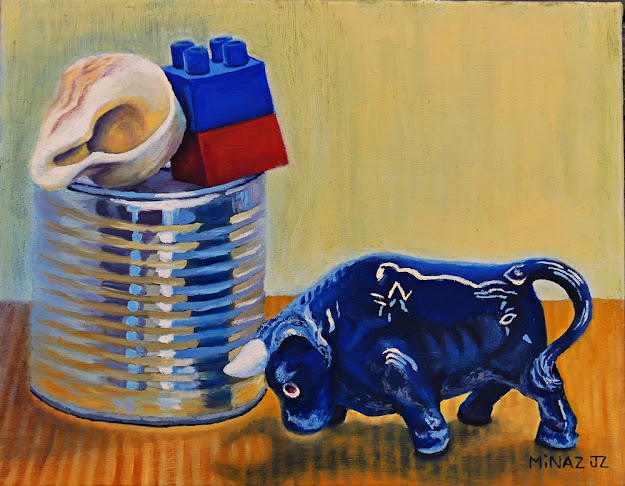 "'Tipping Point ~ Taurus & Tin' 11"" x 14"" Oil on Canvas by Minaz Jantz"