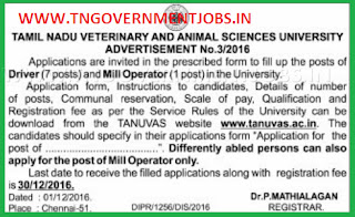 Applications are invited for Driver and Mill Operator Posts in TANUVAS Chennai