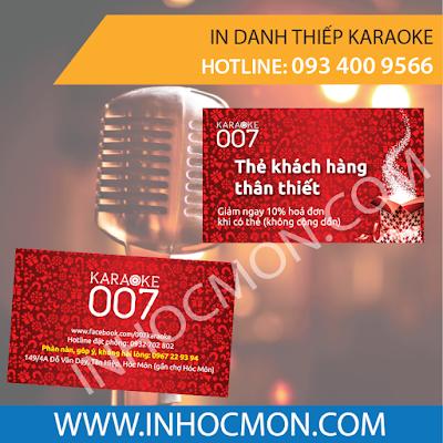 in thẻ khách hàng thân thiết karaoke