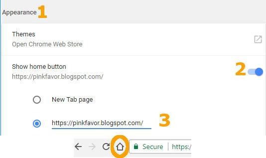 Tombol Home di Chrome dan mengisinya dengan situs tertentu