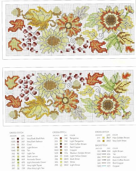 tabella colori schema punto croce primitivo-fiori autunno con zucche e bacche rosse
