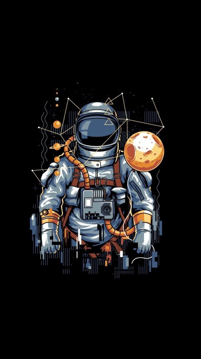 Plano de Fundo Escuro Astronauta para Celular