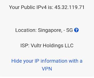 Informasi IP setelah terhubung SSH