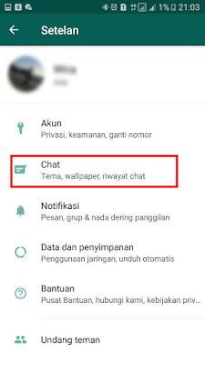 Menu Pengaturan Chat WhatsApp