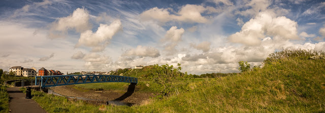 Photo of the blue bridge across the River Ellon to Mote Hill, Maryport