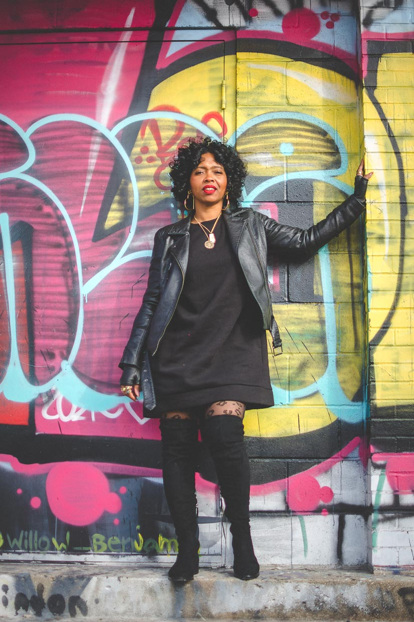 SWEENEE STYLE, INDIANAPOLIS STYLE BLOG, FASHION BLOG, HOW TO WEAR A DENIM JACKET, HOW TO WEAR A SWEATER DRESS, NATURAL HAIR, BLACK GIRLS WHO BLOG