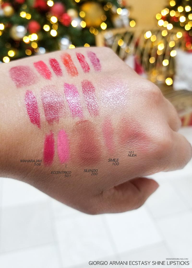 Giorgio Armani Ecstasy Shine Lipsticks - Swatches - Maharajah 506 - Eccentrico 501 - Silenzio 200 - Smile 100 - Nuda 101
