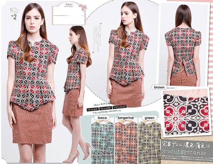 Jual Baju Batik Marion Peplum Dress - 13145