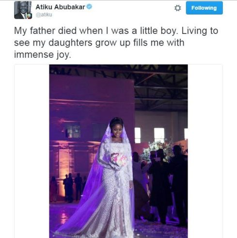 Atiku Abubakar Shares Emotional Post As His Daughter Gets Married