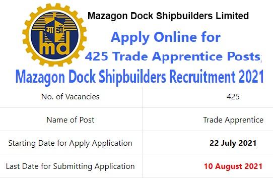 Mazagon Dock Ltd Trade Apprentice Recruitment 2021 – Apply Online for 425 Posts