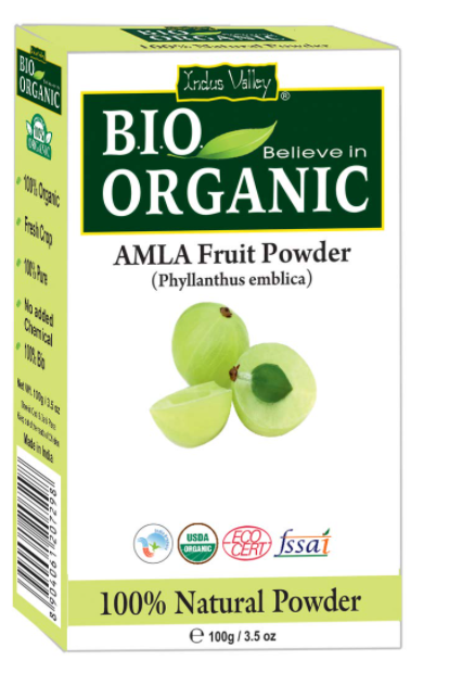 INDUS VALLEY Organic Amla Indian Gooseberry Powder for Hair and skin,100g