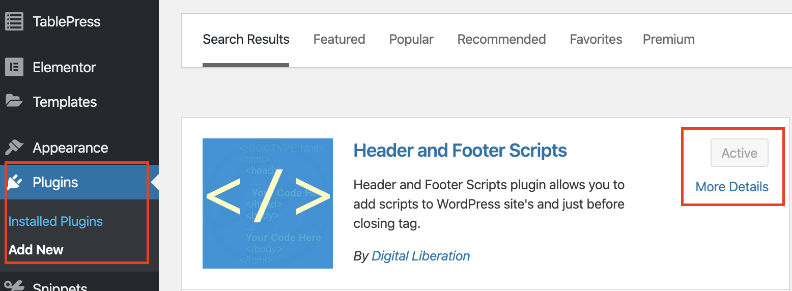 Install header and footer scripts plugin in WordPress.