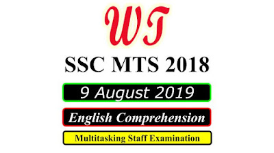 SSC MTS 9 August 2019 All Shifts English Questions PDF Download Free