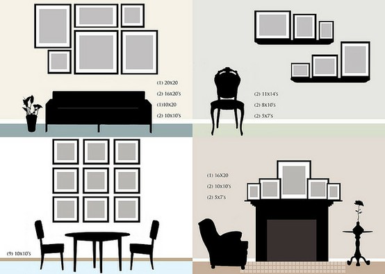 Each Of The Arrangements Shown Above Is Well Balanced In Response To Wall Sizes And Size Decor