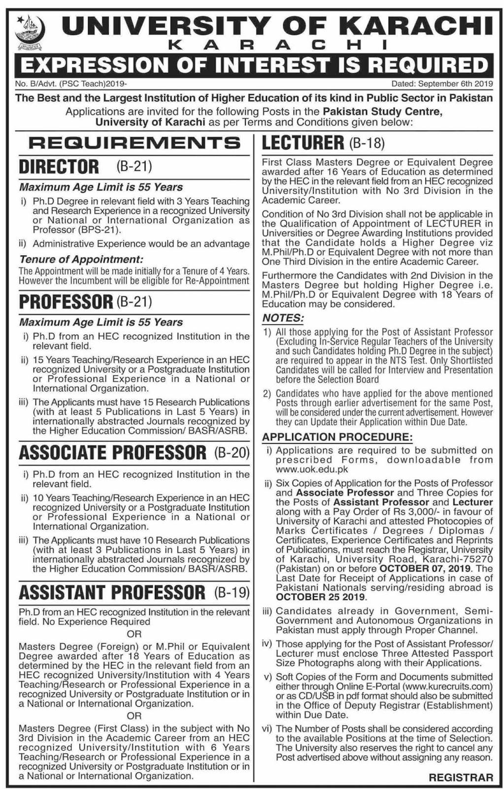 Latest Jobs in University of Karachi Sep 2019