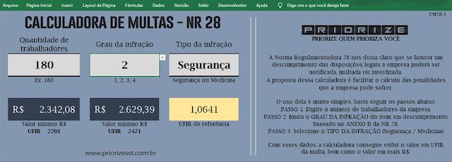 calculadora excel nr 28 multas
