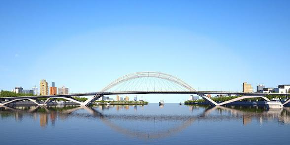 Phối cảnh phương án dự thi thiết kế kiến trúc công trình cầu Thủ Thiêm 4