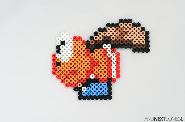 Super Mario World super koopa perler bead craft from And Next Comes L